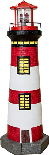 Solar-Leuchtturm, 83cm hoch, rot