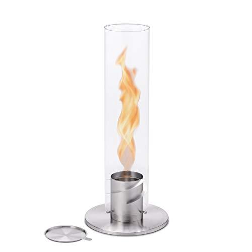 höfats - Spin 120 Silber - Bioethanolkamin für Indoor und Outdoor - Tischfeuer, Windlicht und Gartenfackel aus Edelstahl