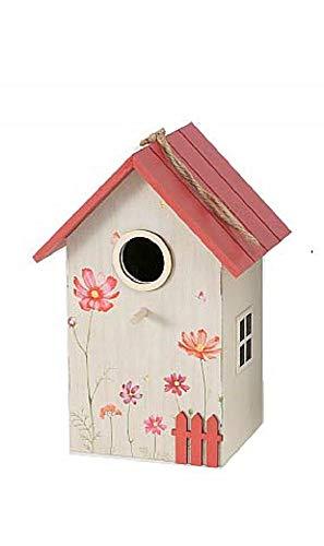 CasaJame Holz Vogelhaus für Balkon und Garten, Nistkasten, Haus für Vögel, Vogelhäuschen, Vogelvilla Beige Deko, 15x12x22cm