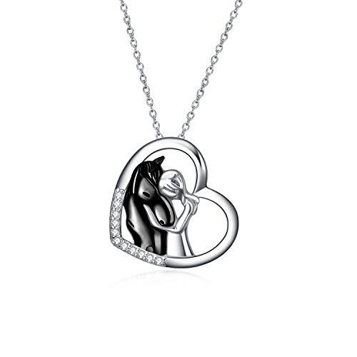 YFN Pferd Anhänger Halskette Schmuck 925 Sterling Silber Mädchen Umarmung Pferd Geschenk für Frauen Mädchen