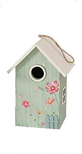 CasaJame Holz Vogelhaus für Balkon und Garten, Nistkasten, Haus für Vögel, Vogelhäuschen, Vogelvilla Grün Deko, 15x12x22cm