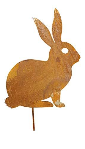Großer Edelrost Hase | Oster Hase Bodenstecker Metall | Beetstecker Garten Oster Frühling Deko