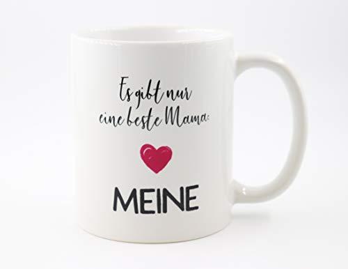 PICSonPAPER Tasse mit Spruch Es gibt nur eine Beste Mama: Meine, Muttertagsgeschenk, Kaffeetasse, Keramiktasse, Tasse mit Spruch, Tasse Mama, (Beste Mama)