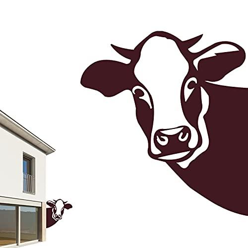 Edelrost Cow Metall, Farm Peeping Cow Metallkunstwerk Outdoor Indoor Patio Hängende Ornamente, Metall Rost Gartendeko als Cow Figur - Rostdeko Metall Rost Gartenstecker, Rostoptik, Rost Deko