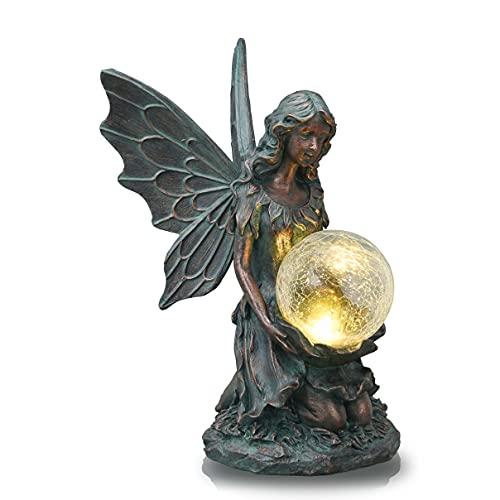 TERESA'S COLLECTIONS Kniende Elfe Gartenfiguren Solar Glaskugeln Beleuchtung 33cm ElfenEngel Garten Figur Feen Statue aus Polystein Bronze Solarfiguren Gartendekoration Fee Fairy Figur für Außen