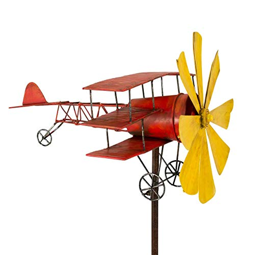 CIM Metall Windspiel - Flugzeug Roter Baron - wetterfest, mit Antik-Effekt - Windrad: Ø30cm, Motiv: 44x46cm, Gesamthöhe: 160cm - inkl. Standstab