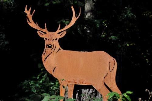 Edelrost Hirsch stehend 107cm hoch