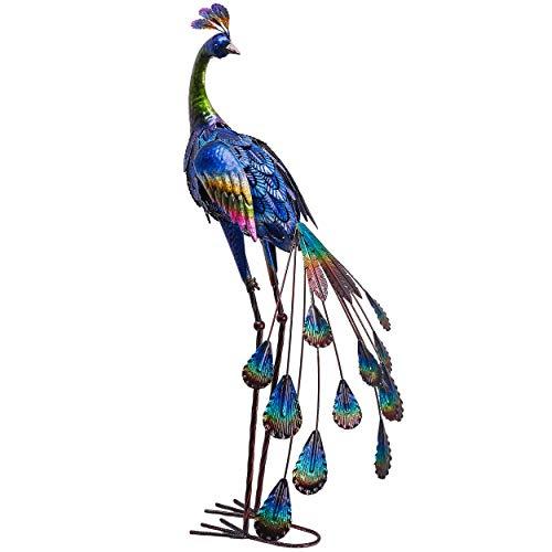 TERESA'S COLLECTIONS 89cm Metall Pfau Gartenfigur Stehende Kunstliche Pfau Garten Statue Für Garten Deko Outdoor außen Garten, Terrasse und Balkon