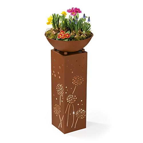 Dekosäule mit Abnehmbarer Pflanzschale by PRIMA GARDEN | 72 cm hoch | LED-Licht und Timer-Funktion | Edelrost-Design | Innen und Außen-Dekoration (Premium)
