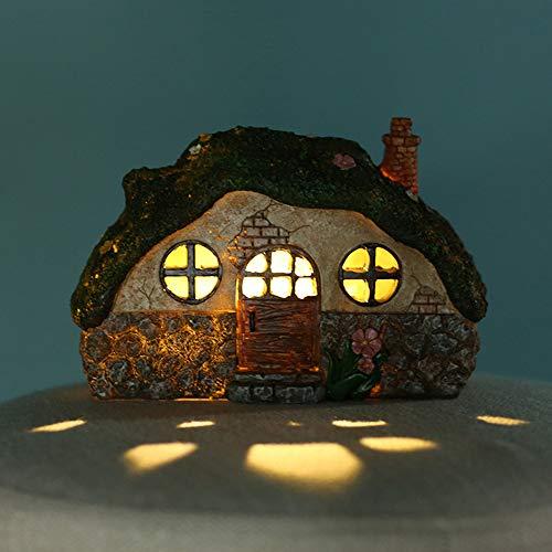 Verdelife Feenhaus, Lichterkettenhaus, Kreativhaus, Landschaftslampenhaus, solarbetriebenes beleuchtetes Feenhaus, Wohngartenornament mit Lichtsteuerungs-Induktionslichtern
