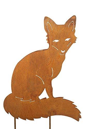 Bornhöft Gartenstecker Fuchs Metall Edelrost Gartendeko Gartenstecker 40x30cm rostige Gartendekoration Naturrost