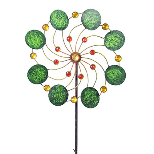 CIM Metall Windrad - Exotic Flower Samoa - Ø34cm, Gesamthöhe: 122cm - inkl. 3-teiligem Standstab - leichtgängig drehend