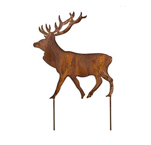Blümelhuber Hirsch Rost Deko für Garten - Metall Edelrost Gartenstecker Hirsch Figur auch für den Balkon oder die Haustüre