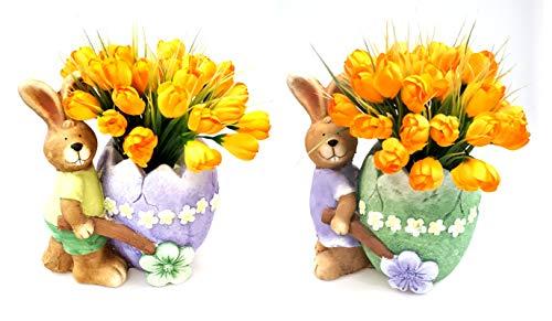 Deko Figur Osterhase und Osterhasenfrau mit Ostereikarre zum Bepflanzen Osterfigur Osterhasenfigur Osterdeko Gartenfigur zu Ostern