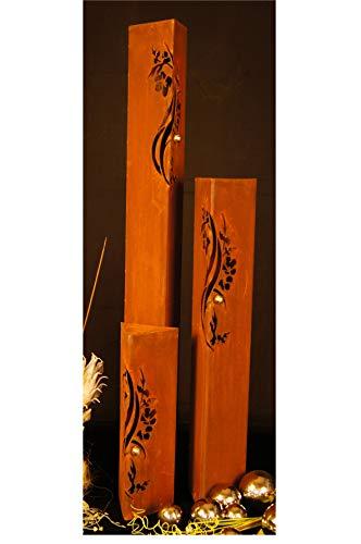JH-Metalldesign Säulenset Kirschblüte Säule Set Edelrost Rost Design Gartendeko Garten Edelstahl - Kugel