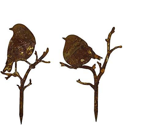 itsisa ® Gartenstecker Vögel im Rost Design H: 17cm, 2er Set, Rostfigur für den Garten, Gartendeko, Metalldeko