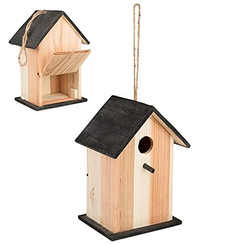 Smart Planet Vogelhaus aus Holz - Nisthaus mit Klappe zum Auffüllen Nistkasten 22 x 15 x 13 cm - Vogel Haus - Häuschen mit Kordel zum Aufhängen