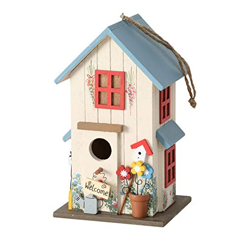 CasaJame Holz Vogelhaus Bunt und Blau für Garten, Nistkasten, Haus für Vögel, Vogelhäuschen, Balkon Deko, 15 x 13 x 26cm
