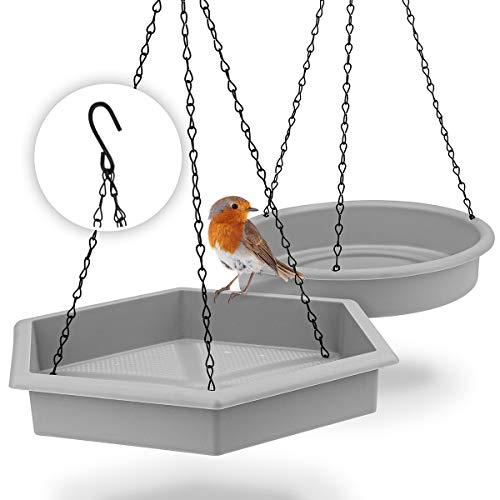 WILDLIFE FRIEND I 2er Set Vogeltränke hängend ∅ 25cm I XL Vogeltränke groß Garten Balkon - Vogelfutterspender mit Vogeltränke hängend für Wildvögel im Garten