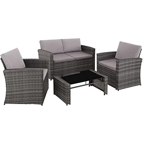 TecTake 800905 Polyrattan Sitzgruppe für 4 Personen, 12-teilig, Gartenmöbel Set mit Sofa, Sessel und Tisch, inkl. Sitz- und Rückenkissen, für Garten, Terrasse und Balkon (Grau)