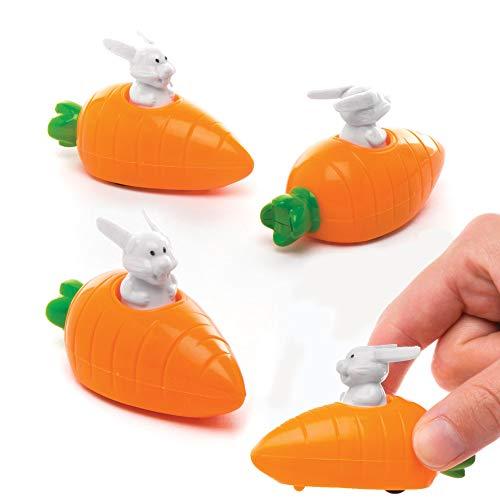 Baker Ross Aufziehbare Hasen mit Karotte (4 Stück) – perfekt als Ostergeschenk oder als kleine Party-Überraschung für Kinder