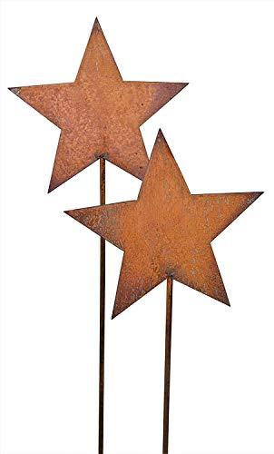 Bornhöft Gartenstecker Sterne aus Edelrost Metall Rost Gartendekoration Weihnachten rostige Gartendekoration Stern 2 x 118cm