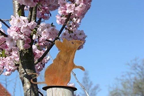 Rostikal Edelrost Gartendeko Vintage Maus 13 x 15 cm Dekoration Wohnzimmer Garten Deko Balkon