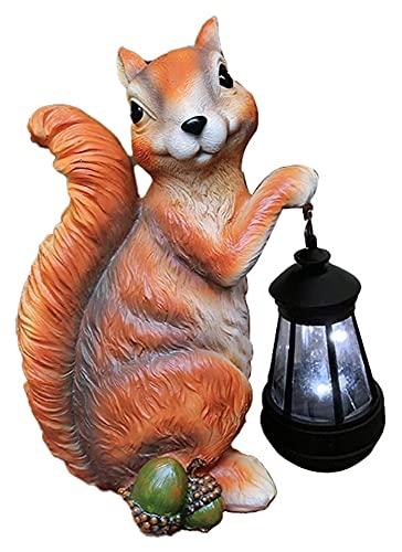 WQQLQX Statue Tier Solar LED Laterne Dekoration Eichhörnchen Statue Garten Skulptur Gartenlicht Outdoor Figuren Handwerk Geschenke-18 * 13 * 28cm Skulpturen