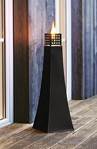 große Öllampe aus Metall, schwarz, 76 cm hoch, Gartenfackel, Bodenwindlicht