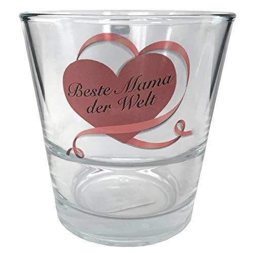Muttertagsgeschenk von Leonardo - Teelichthalter Glas mit Kerze - Beste Mama der Welt - Geschenk für Mama
