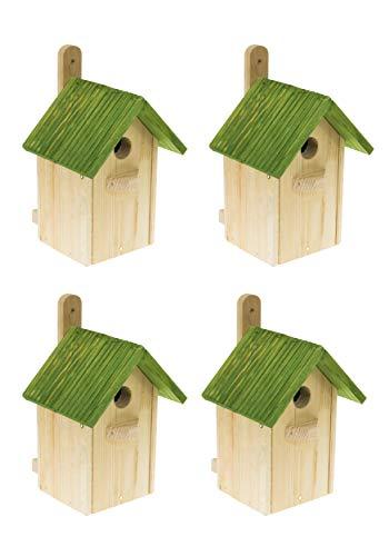 MAZUR International 4 x Nistkasten Natur für Blaumeisen & kleine Meisenarten aus Holz -wetterfest, Vogelhaus für Meisen, Nisthilfe mit 32 mm Einflugloch Vogelhaus Meisenkasten Nisthöhle