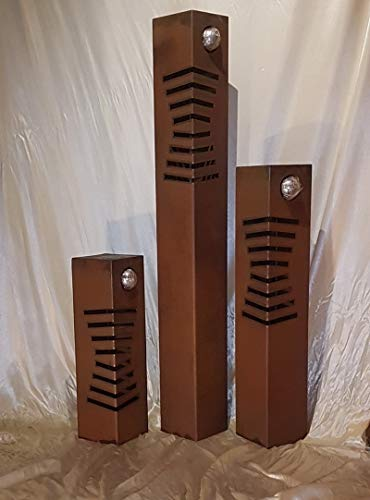 Jabo Design Set aus 3 Säulen Rostsäulen RS126 Deko Rost Säule Blumen Garten