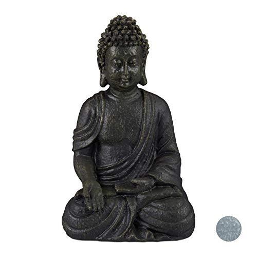 Relaxdays Buddha Figur sitzend, 30 cm, Gartenfigur, Dekofigur Wohnzimmer, Keramik, wetterfest, frostsicher, dunkelgrau
