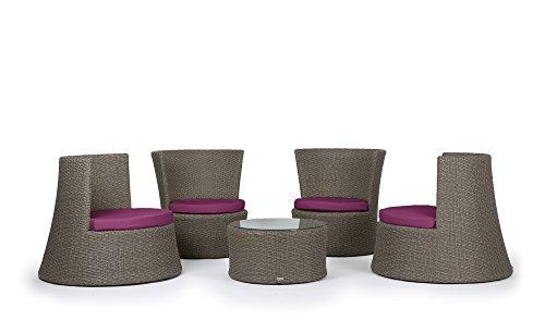 Rattan4Life Pisa Rattan grau/lila Polyrattan Gartenmoebel Sitzgruppe Lounge Moebel Set Tisch Gartentisch Sessel Sofa Stuhl Kissen Balkon Garten