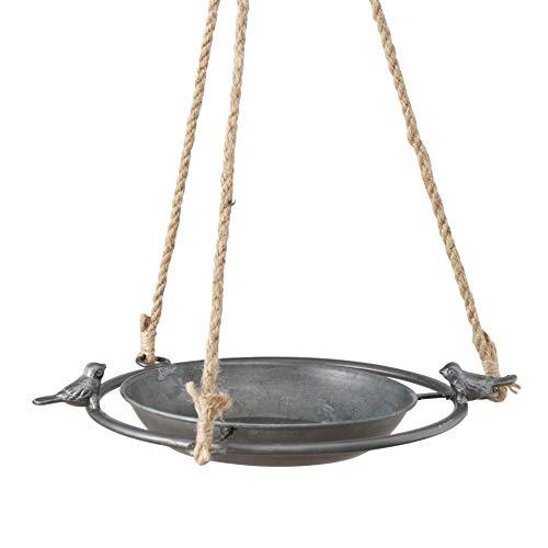 CasaJame Vogeltränke aus Zink zum Hängen D25cm mit 2 kleinen Vogel Figuren, Vogelbad für den Garten, Dekoration Frühling Herbst