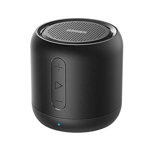 Anker Soundcore mini Bluetooth Lautsprecher, Kompakter Lautsprecher mit 15 Stunden Spielzeit, Fantastischer Sound, 20 Meter Bluetooth Reichweite, FM Radio und intensiver Bass(Schwarz)