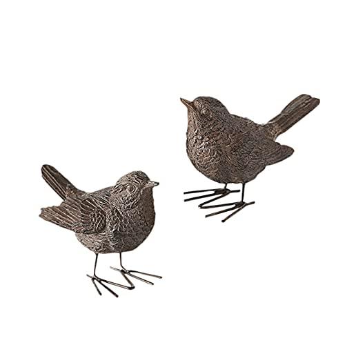 BigDean 2X Dekovogel Spatz 6cm Rostbraun Vogel Singvogel rost Farben