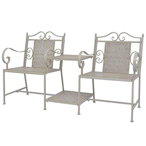 vidaXL Gartenbank mit Tisch 2-Sitzer Vintage Terrasse Balkon Garten Gartenmöbel Sitzgruppe Sitzbank Gartenstuhl Bank 161cm Stahl Grau