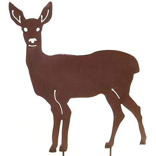 Wunderschöner & Hochwertiger Gartenstecker - Tier Figur – Rost Stecker/Tierfigur – Große Auswahl – Edelrost Gartenfigur – Metall Gartendeko (REH - Höhe (mit Stäben) 70cm)