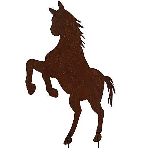 EQT-TEC Gartendekoration Edelrost Pferd 63 cm Rostfigur Garten Gartenstecker Dekoration Tiere Reiterhof