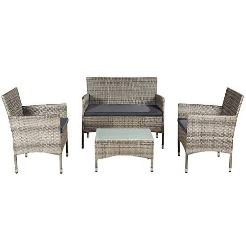 ArtLife Polyrattan Gartenmöbel-Set Fort Myers grau-meliert – Sitzgruppe mit Tisch, Sofa & 2 Stühlen - Balkonmöbel für 4 Personen mit grauen Auflagen