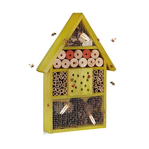 Relaxdays Insektenhotel für Wildbienen, Marienkäfer, Florfliegen, für Balkon, Garten, HxBxT: 40 x 27,5 x 7cm, Holz, grün