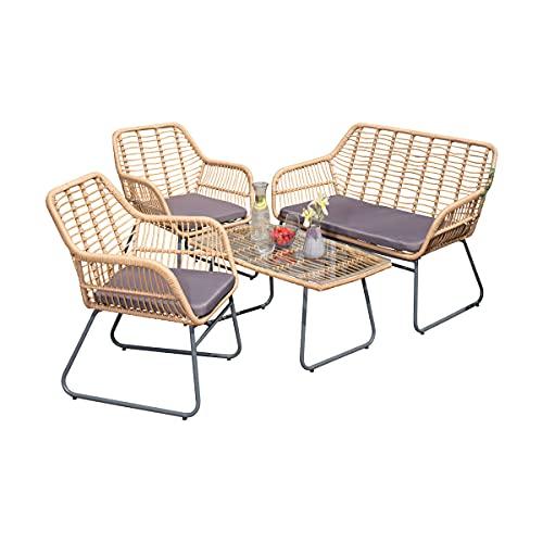 Green Spirit - Garten Sitzgruppe Kilsund - Braun, Polyrattan, für 4 Personen, Sicherheitsglas, Wetterfest, Gartenmöbel-Set mit Sofa, 2 Sessel, Tisch