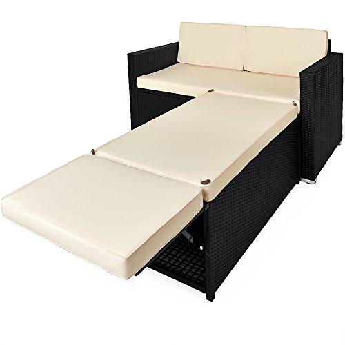 Deuba Polyrattan Lounge 3in1 Sonnenliege 2-Sitzer Sitztruhe inkl Stauraum Wetterfest Outdoor Gartenliege Schwarz Creme