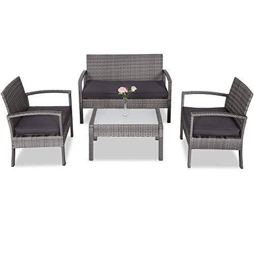 Casaria Poly Rattan Lounge Set 5cm Auflagen 2 Sessel Bank Gartentisch Wetterfest Sitzgruppe Balkon Gartenmöbel Grau