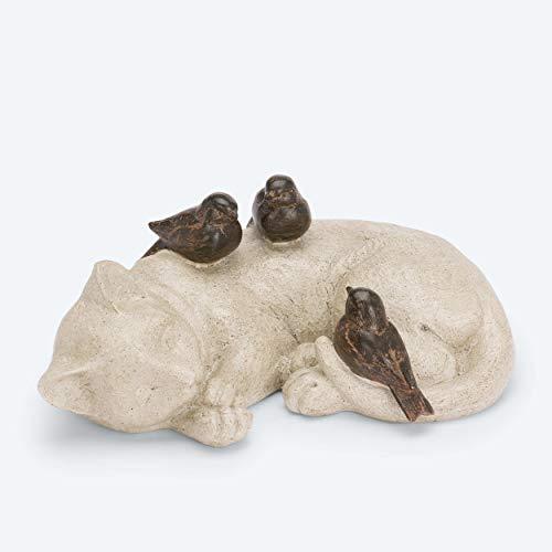 Niedliche Deko Figur, große liegende Katze mit 3 Vögeln - Gartenfiguren Tiere für außen geeignet - Outdoor, wetterfest
