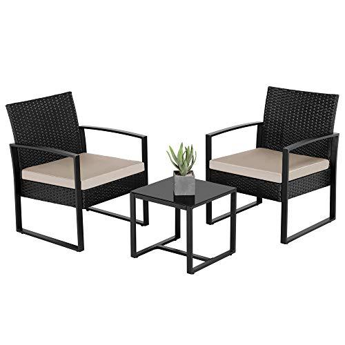 Yaheetech Gartenmöbelset 3-teilig Polyrattan Sitzgruppe mit Sofa und Tisch Gartengarnitur Balkon-Set für Garten und Terrasse