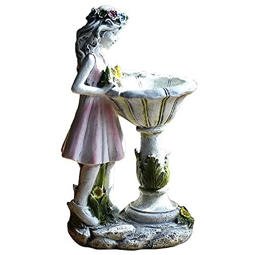 Jodimitty Blume Fee Gartendeko, Wetterfest Blumenfee Solar Figur, Deko Harz Gartendeko Figuren Solarleuchte Garten Dekoration, Gartenfigur Polyresin Garten Figuren für Außen Teiche Terrasse
