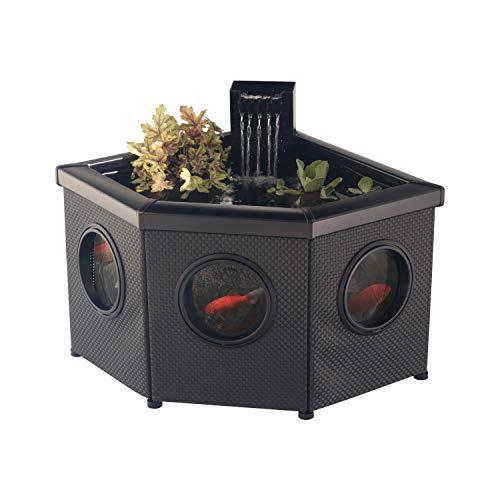 Blagdon Affinity View Eck-Wasserspiel-Pool, mit 5-in-1-Filterpumpe von Inpond mit 2000 Filter und LED-Strahler, DREI attraktive Springbrunnen-Köpfe und 1 Pflanzkorb