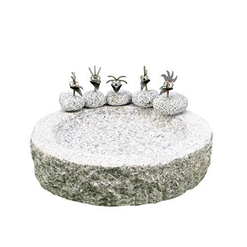 Gebrüder Lomprich Vogelbad aus Granit (mit 5 Vögele am Rand sitzend)